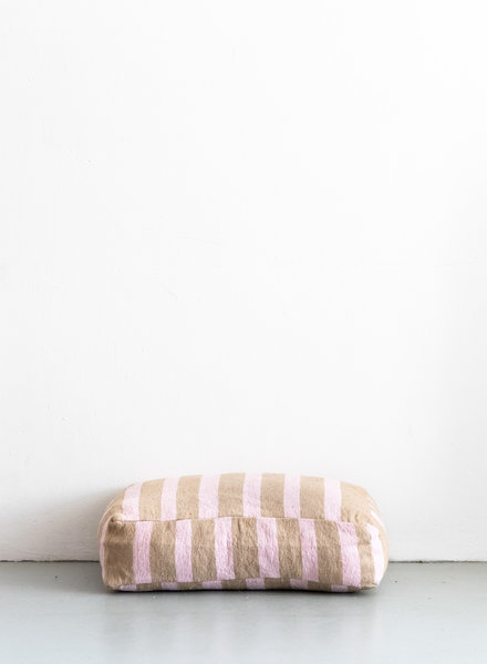 Floor pillow small stripe camel soft pink (PRE-ORDER)
