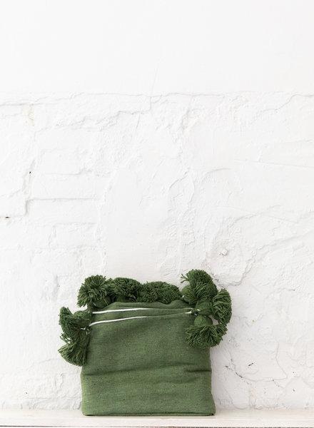 Berber cotton pompom blanket green