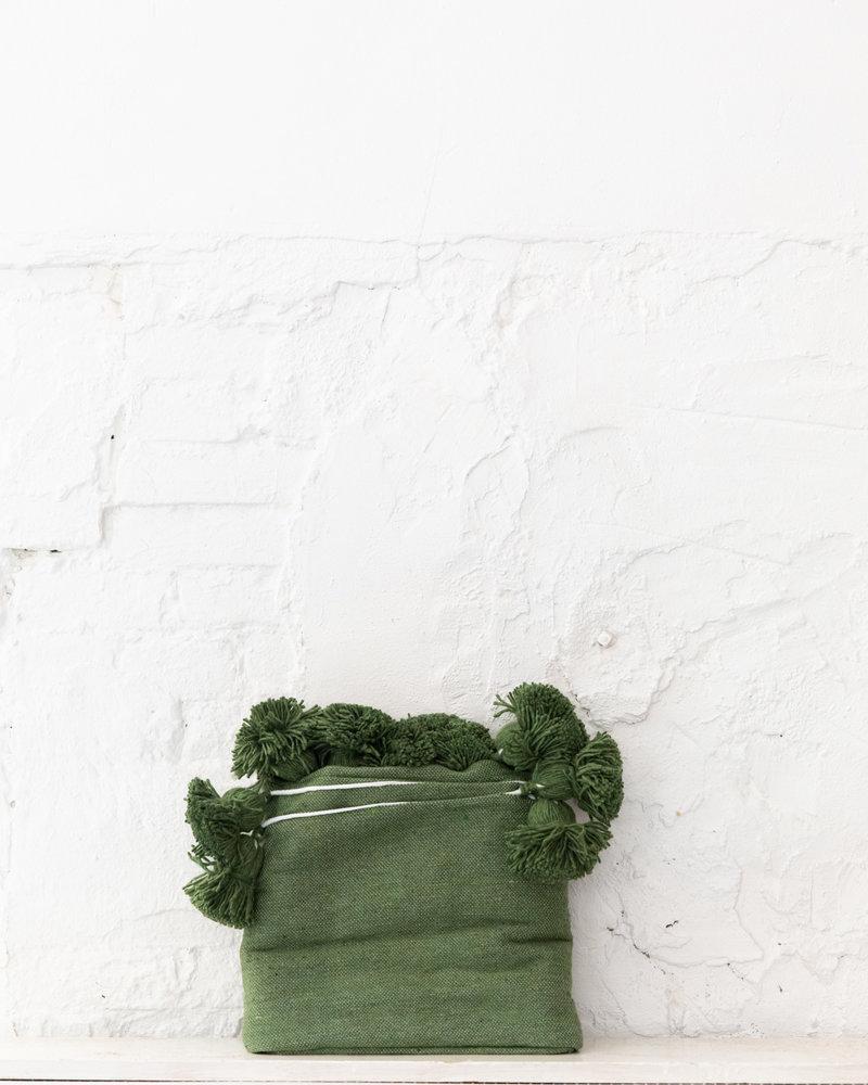 Berber katoenen pompom deken groen