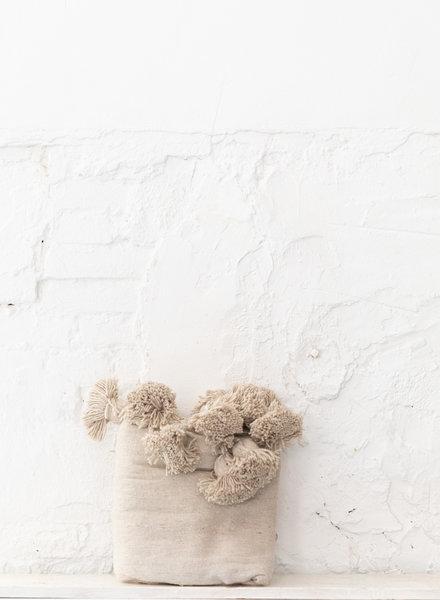 Berber cotton pompom blanket beige (PRE-ORDER)