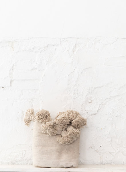 Berber katoenen pompom deken beige