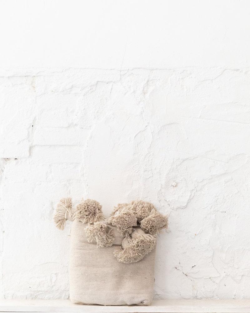 Berber cotton pompom blanket beige
