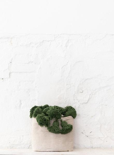 Berber cotton pompom blanket beige & green