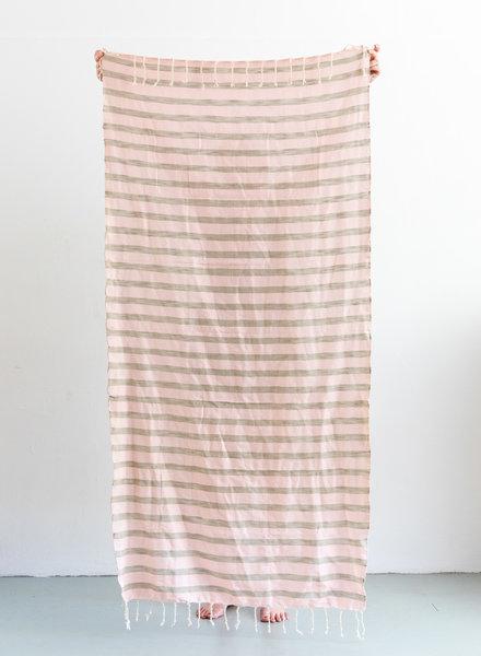Hammam towel stripe sand soft pink