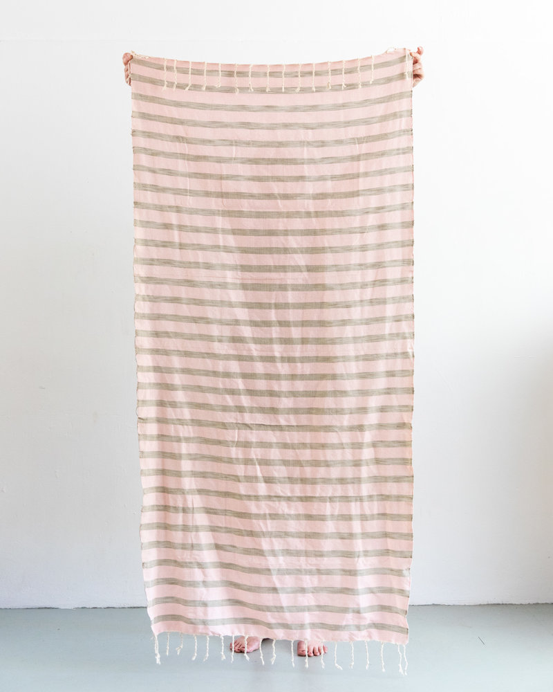 Hammam towel stripe soft pink sand