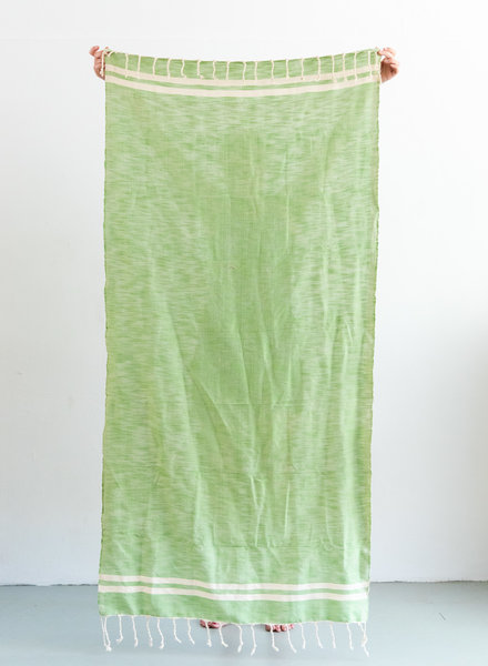Hammam towel green with off-white stripe
