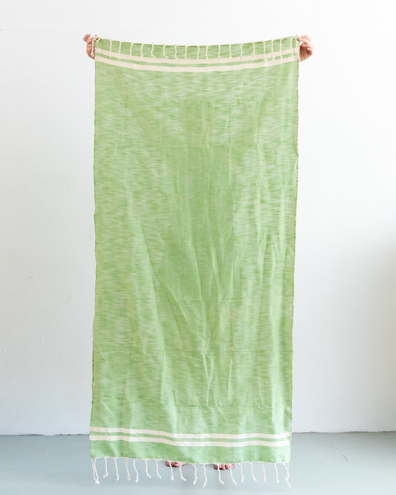 Hammam towel green with off-white stripe (PRE-ORDER)