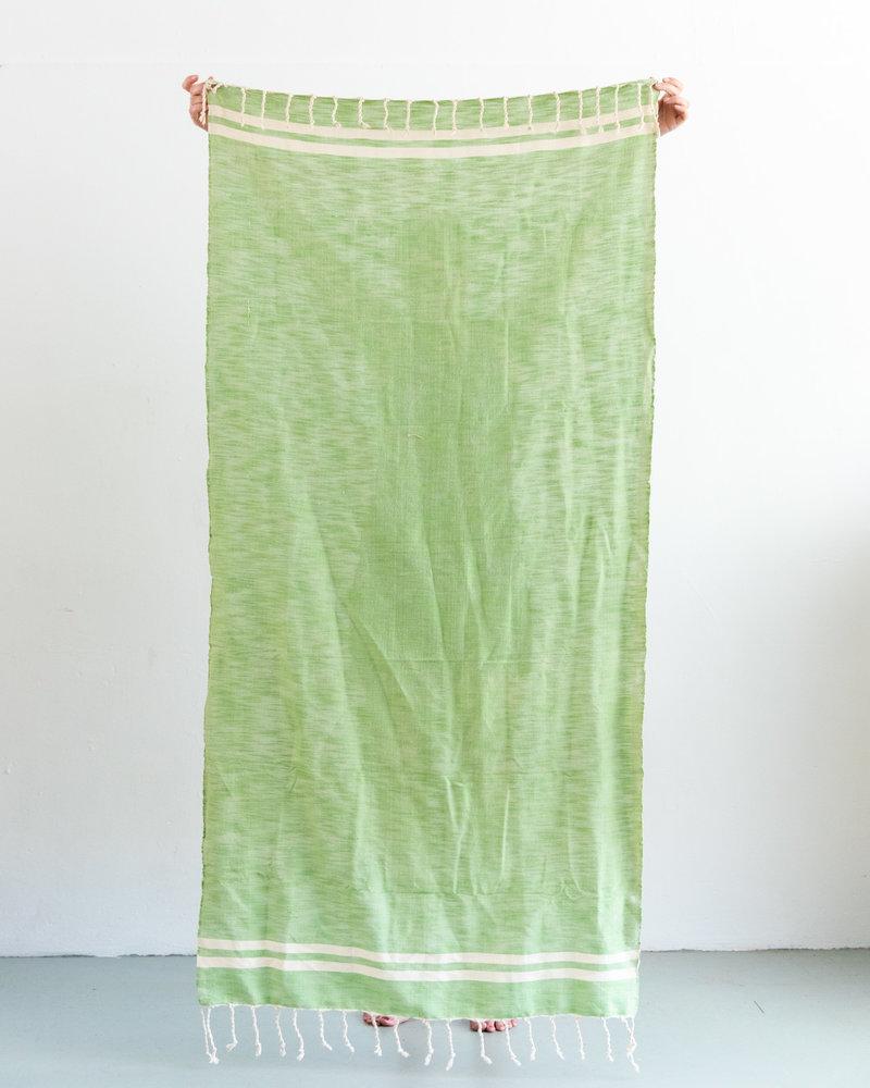 Hammamdoek groen met off-white streep