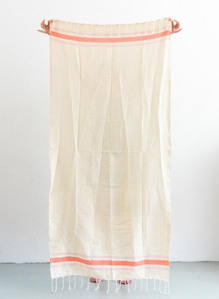 Hammamdoek off-white met multicolor streep