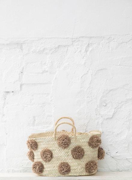 Pompom straw bag camel M
