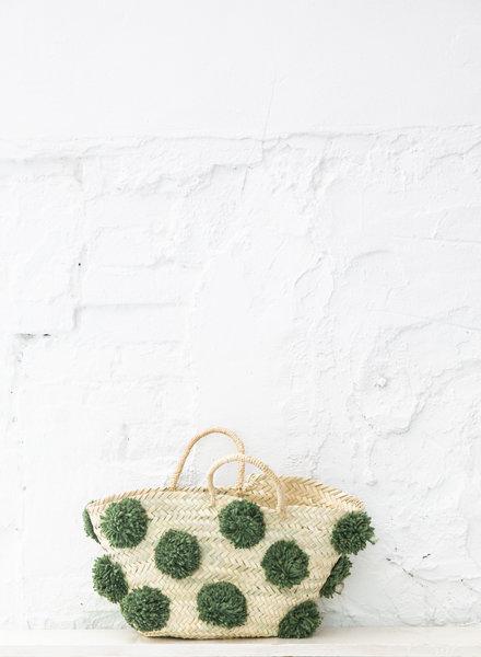 Pompom straw bag green M (PRE-ORDER)
