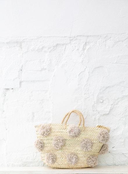 Pompom straw bag beige M