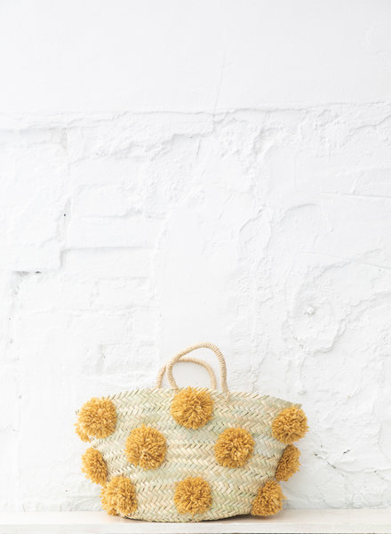 Pompom straw bag ocher M