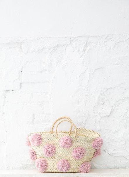 Pompom straw bag soft pink M