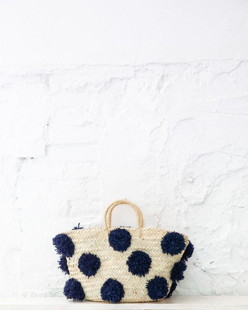 Pompom straw bag navy M