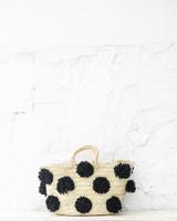 Pompom straw bag black M (PRE-ORDER)