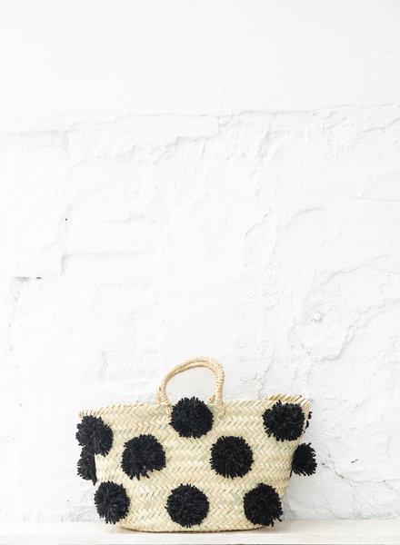 Pompom straw bag black M