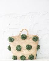 Pompom straw bag green L (PRE-ORDER)