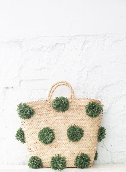 Pompom straw bag green L