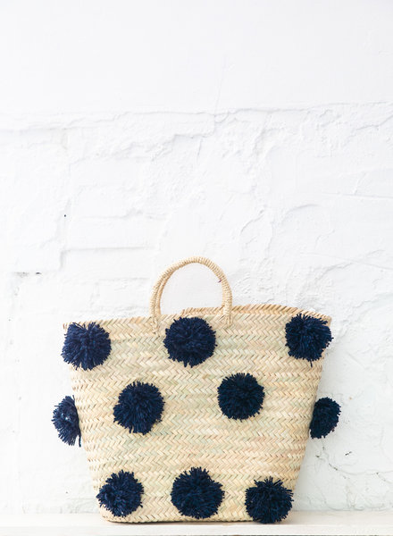 Pompom straw bag navy L