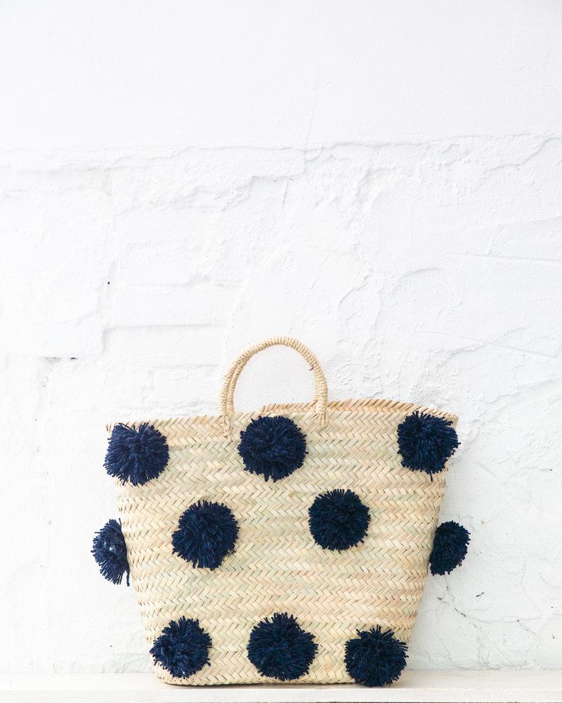 Pompom straw bag navy L (PRE-ORDER)