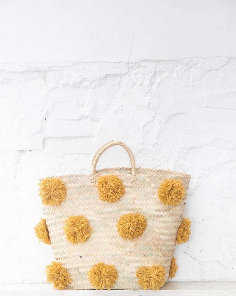 Pompom straw bag ocher L