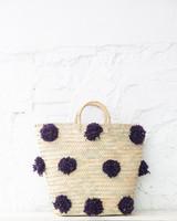 Pompom straw bag eggplant L (PRE-ORDER)