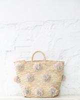 Pompom straw bag beige L (PRE-ORDER)