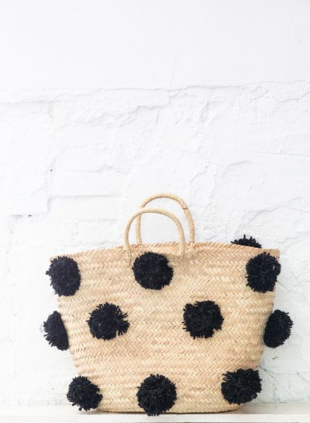 Pompom straw bag black L