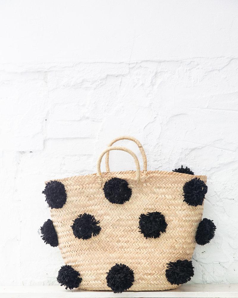 Pompom rieten tas zwart L (PRE-ORDER)