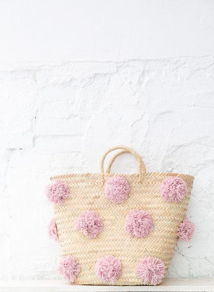Pompom straw bag soft pink L