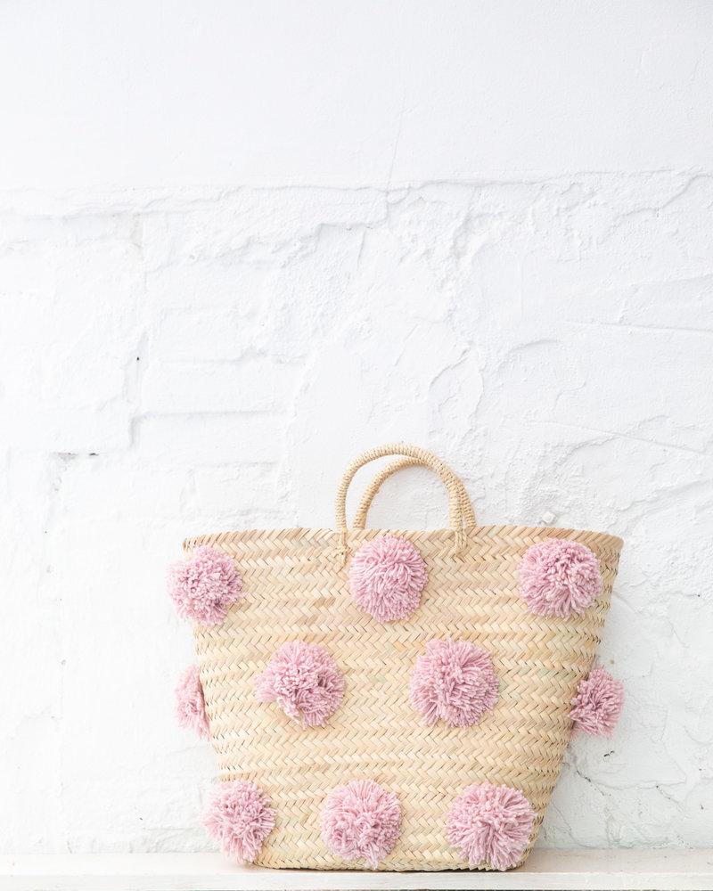 Pompom straw bag soft pink L (PRE-ORDER)