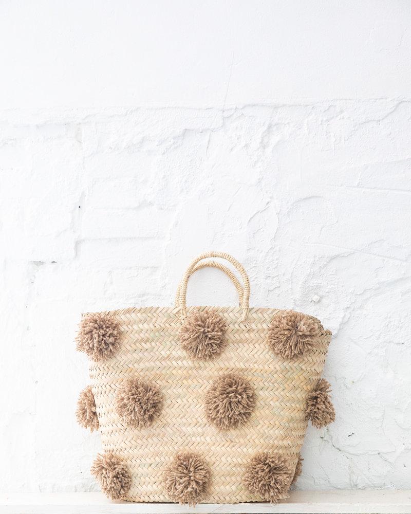 Pompom straw bag camel L