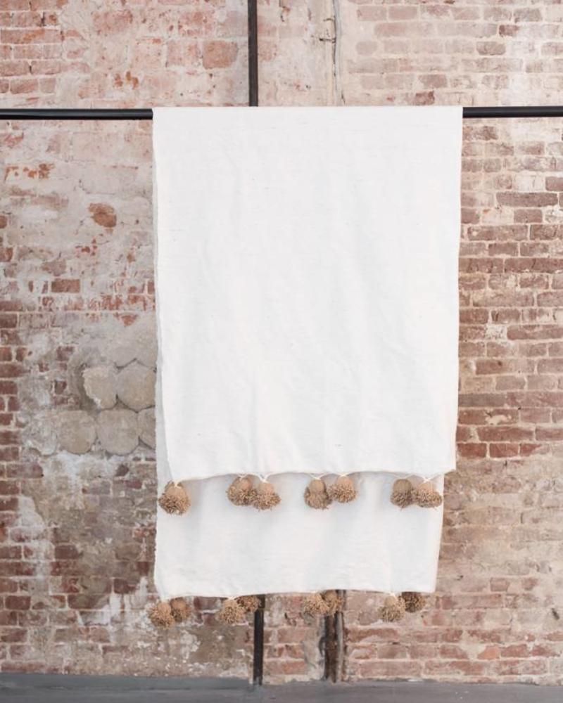 Katoenen pompom berber deken
