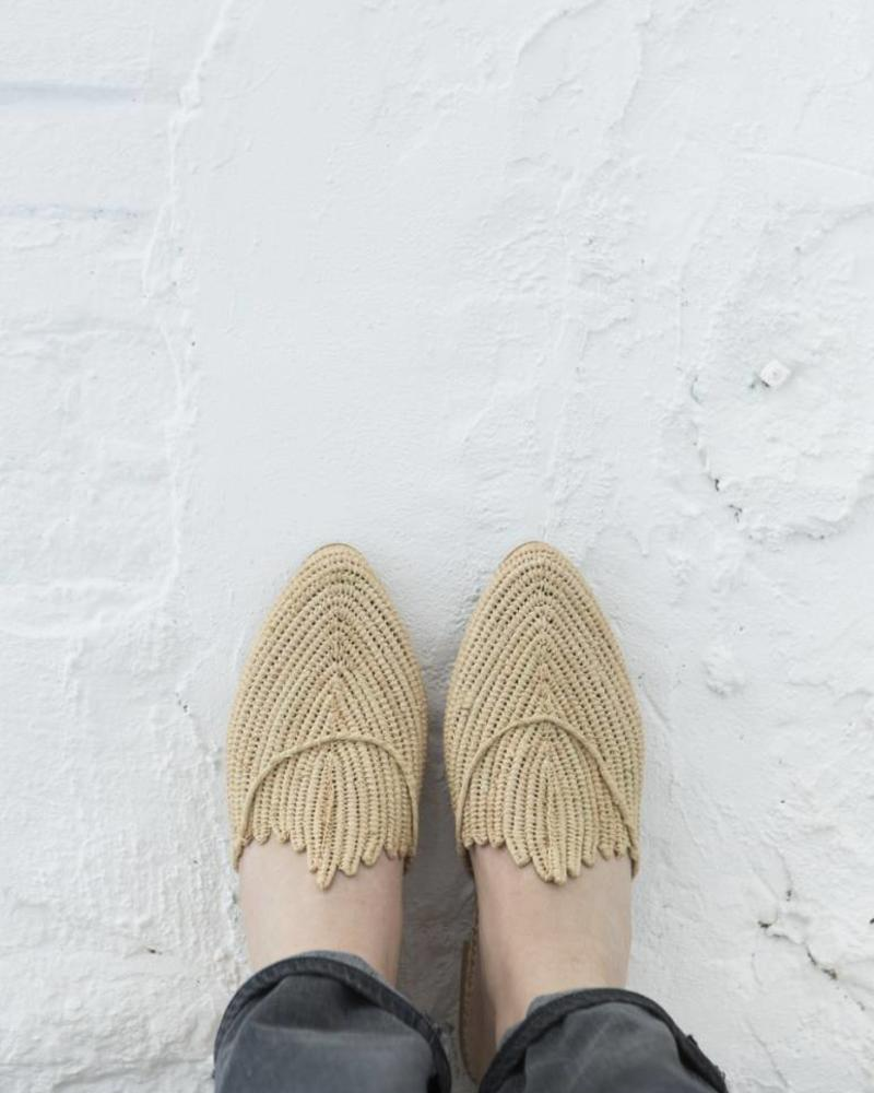 Handmade Natural Raffia slip-on sandals made in Morocco