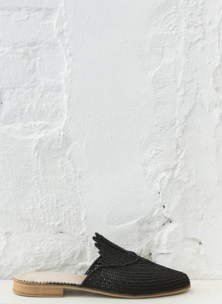 Raffia schoenen zwart