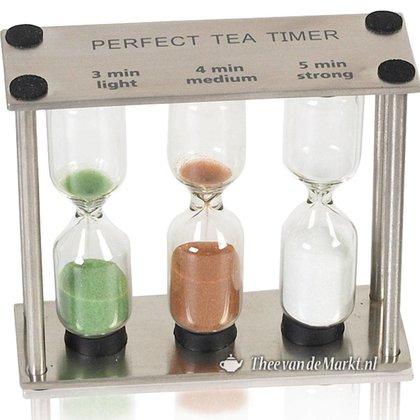 Zandloper voor thee. Drie glazen.