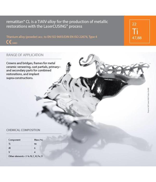 Titanium legering Rematitan® CL 1Kilogram