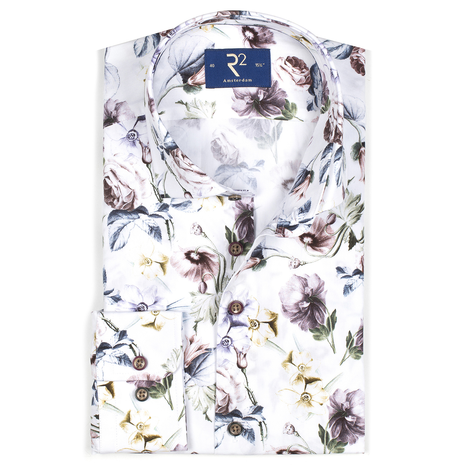 R2 White shirt with all over flowerprint.