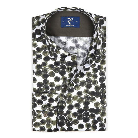 White with green circles cotton shirt.