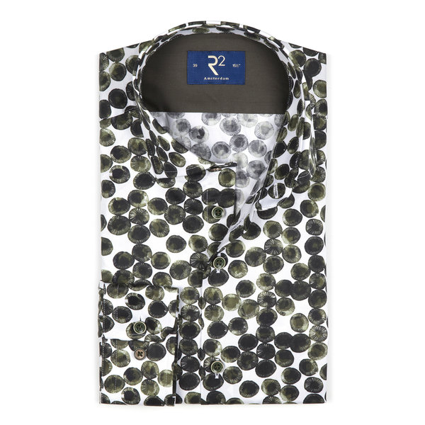 R2 White with green circles cotton shirt.