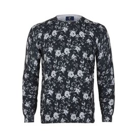 Anthracite floral print cotton pullover.
