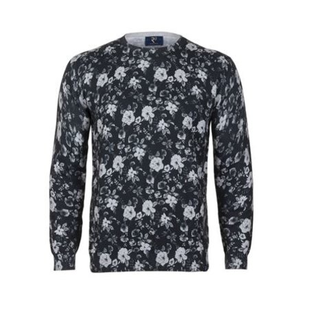 Black pullover with flowerprint in white.