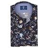 Marineblaues Baumwollhemd mit Blumendruck.