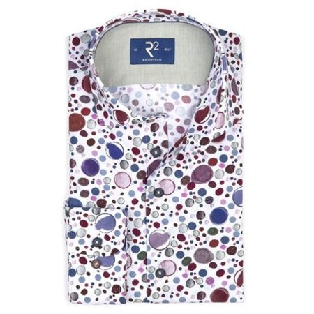 White with all over print of coloured bubbles.