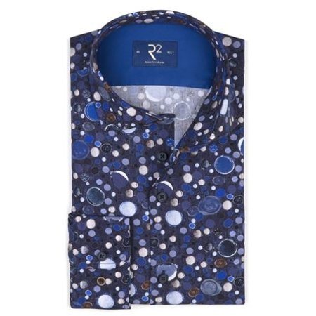 Navy blue with all over print of bubbles.