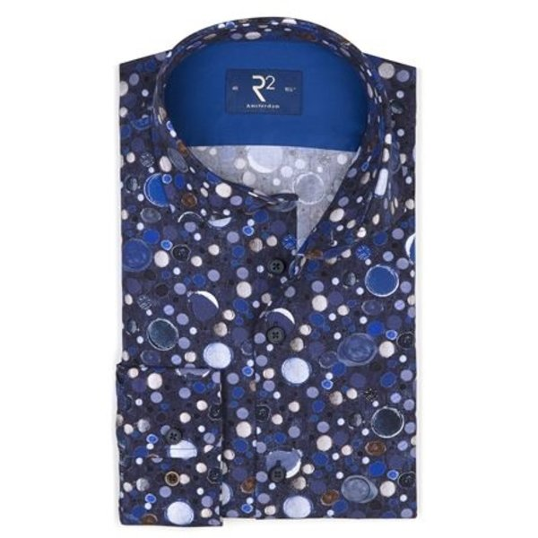 R2 Donkerblauw all over print van bubbels.