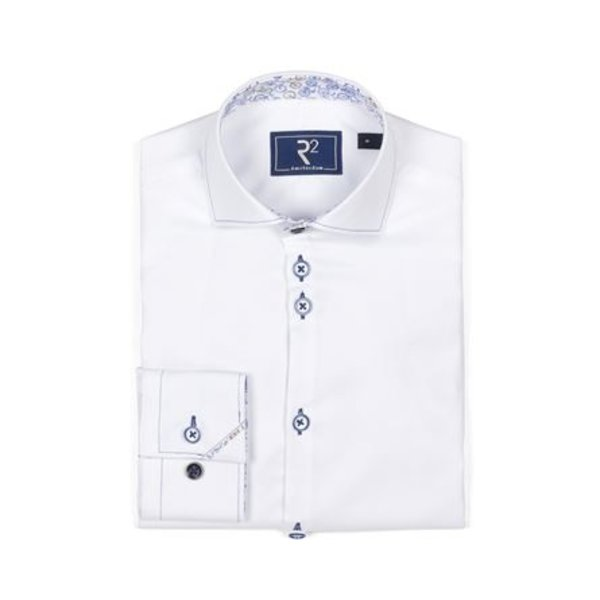 R2 Kids white oxford shirt with bike contrast.