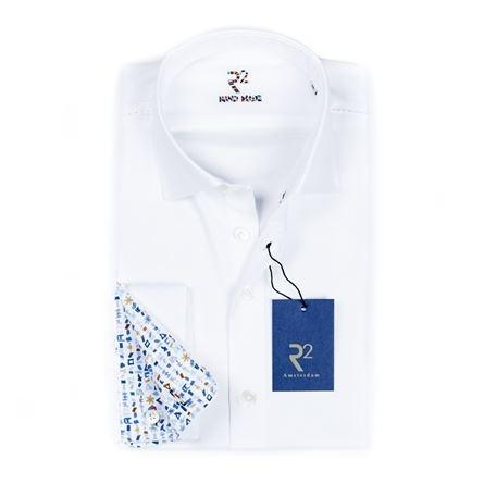 R2 Wit uni overhemd met witte knopen en dubbel manchet.