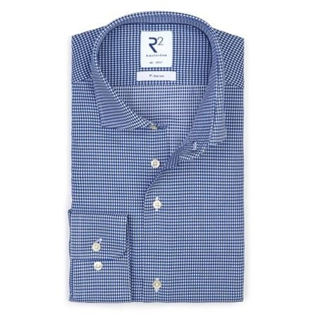 Blauw strijkvrij overhemd pied de poule.